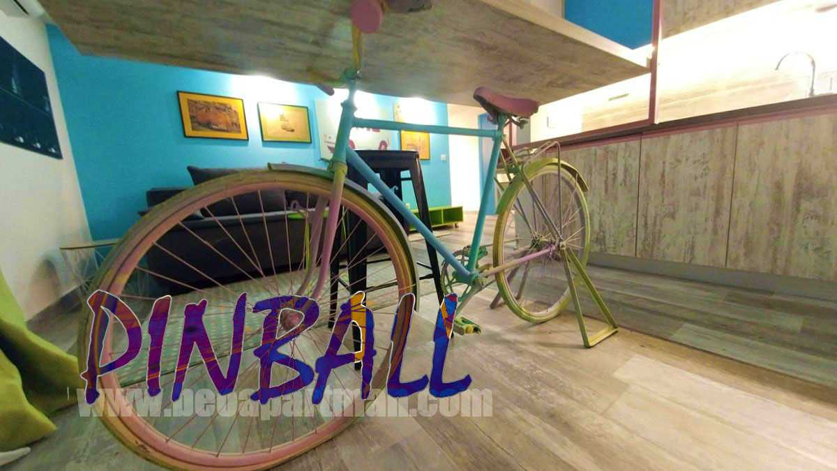 colorful bicycle breakfast bar holder party apartment in Belgrade PINBALL