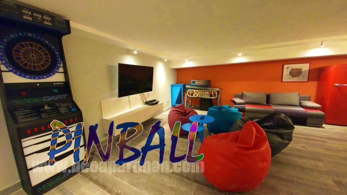 electronic darts machine tv and speak easy pinball party apartment in Belgrade PINBALL