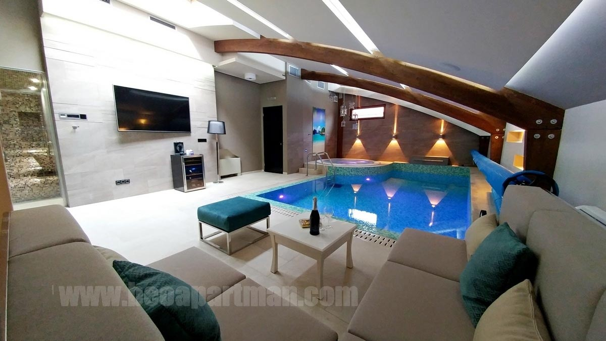 couch and pool apartment with indoor swimming pool Belgrade
