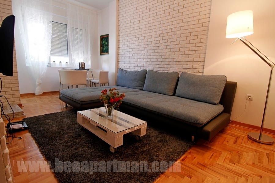 NEVSKIY apartment Belgrade, living room, brick wall