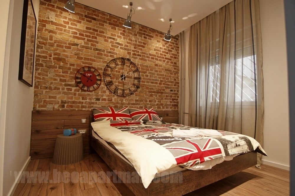 bed and wall INDUSTRY apartment downtown belgrade
