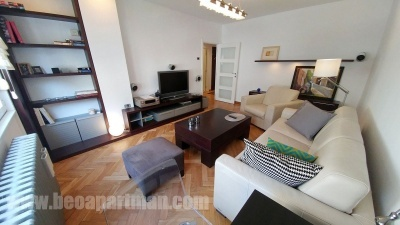 living room PHILOLOGIST apartment in downtown belgrade parking